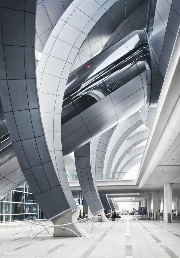 Architecture modern design terminal 3 dubai airport for Dubai architecture moderne