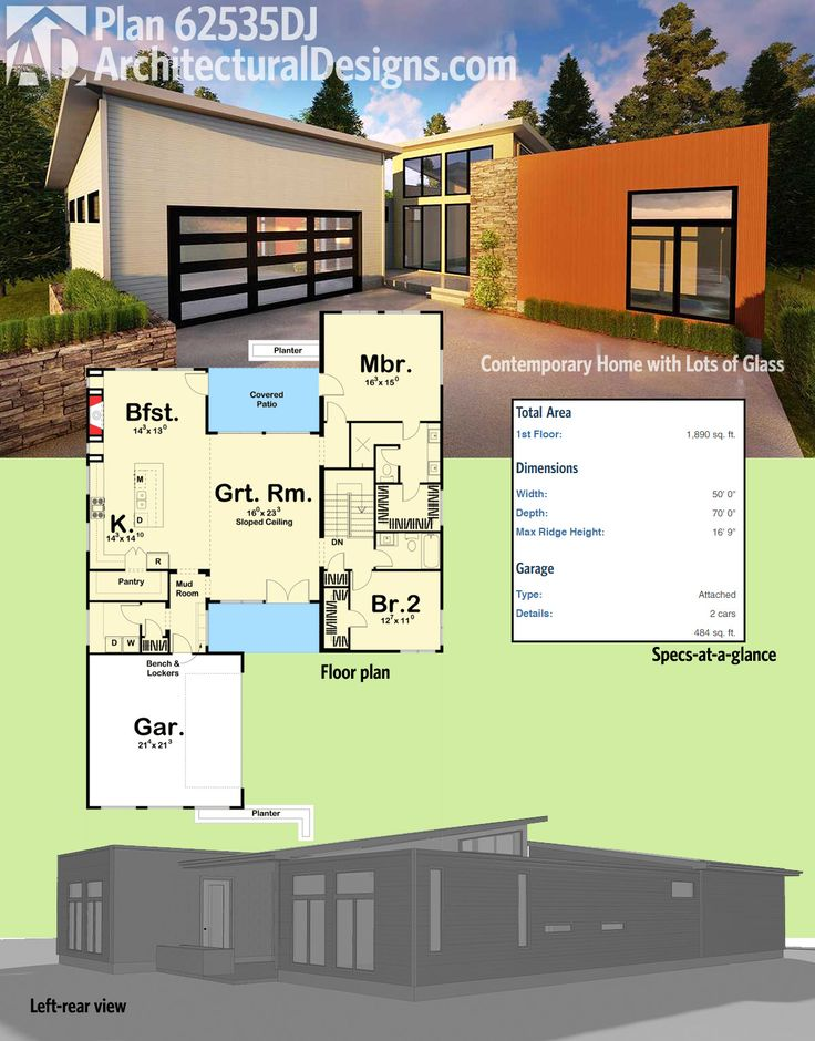 Modern house plans architectural designs 2 bed modern for Buy architectural plans