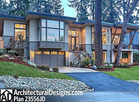 Modern House Plans Sleek Styling For Front Sloping Lot