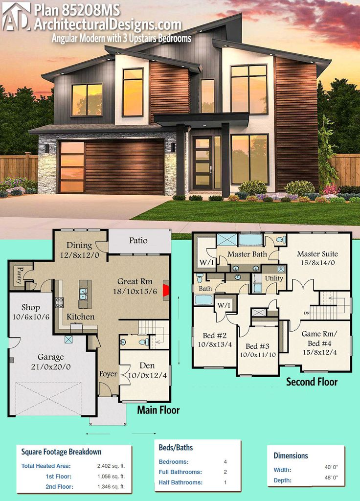 Modern House Plans Architectural Designs Modern House Plan 85208ms Gives You 4 Beds And Over