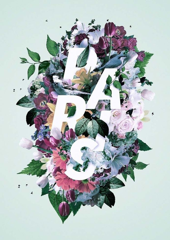Graphic Design Inspiration Floral Typography In