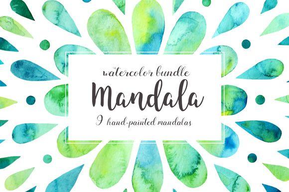 Graphic Design Ideas Mandalas Watercolor Bundle By