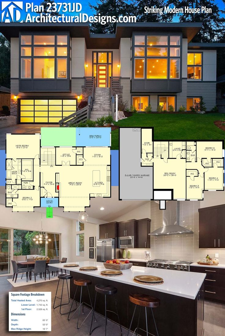 Modern house plans architectural designs modern northwest house plan 23731jd gives you over for Modern home architecture magazine