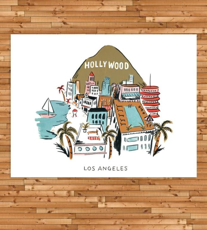 Arte Design In Los Angeles Images: Graphic Design Ideas : Los Angeles Rooftop Art Print By