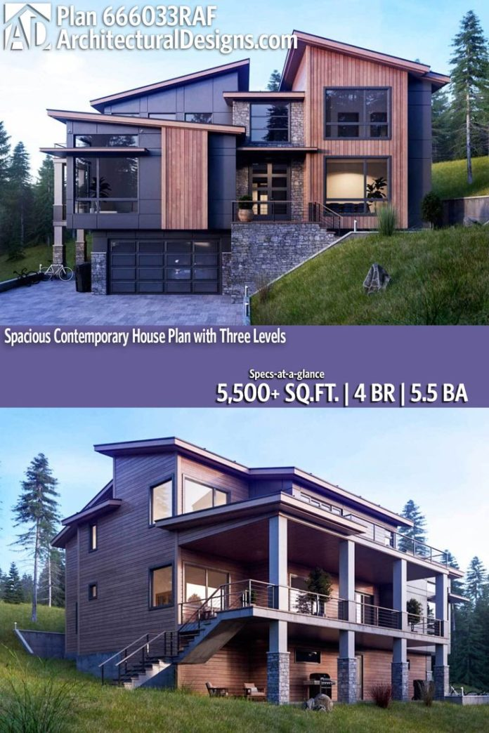 Modern house plans architectural designs modern plan 666033raf 4 br 5 5 ba 5 500 sq ft for Modern home architecture magazine
