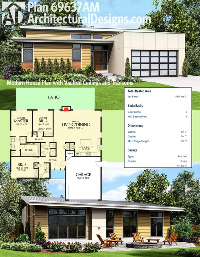 Modern house plans architectural designs 3 bed modern for Architectural home plans