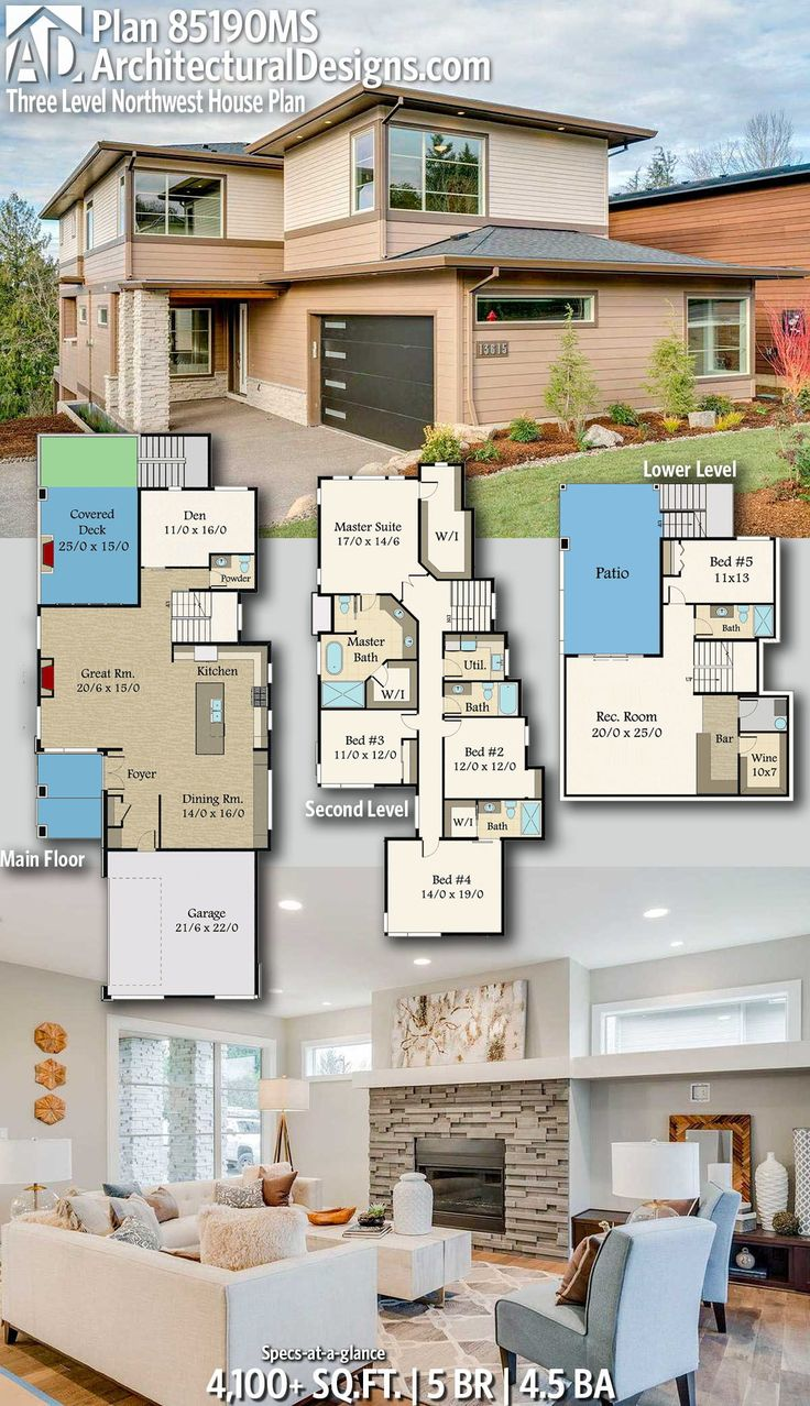 Modern House Plans : Architectural Designs Home Plan 85190MS ...