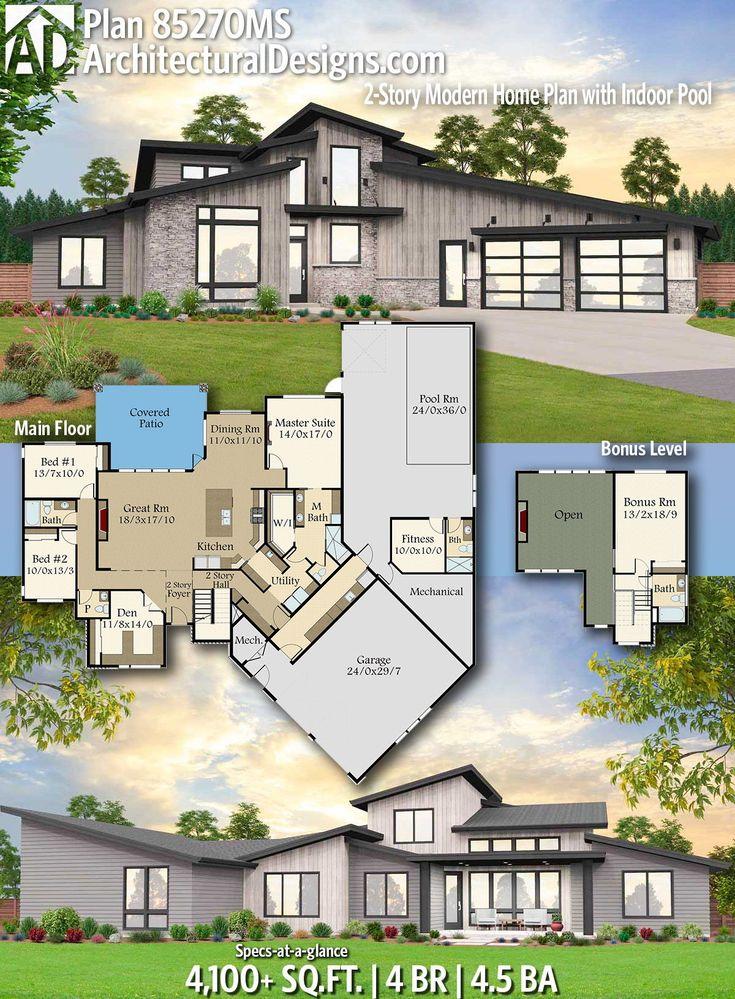 Modern House Plans : Plan 85270MS: 2-Story Modern Home ...
